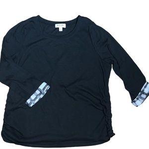 ELLE Women's Black Top w/ Silky Cuffs Size XXL